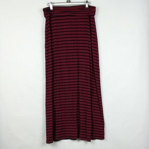 J Crew Jersey Preppy Ruched Stripe Maxi Skirt